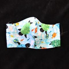 Turtle/Dolfin Fabric Face Mask Size: 7-12yrs