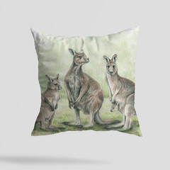 Cushion Cover with Eastern Grey Kangaroos Australian wildlife print  Linen 40cm