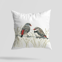 Cushion Cover with Diamond Firetails Australian wildlife print Linen 40cm square