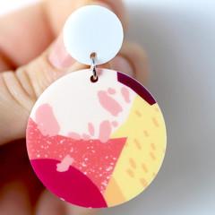 Peach & Apricot Abstract Shape Acrylic Earrings - Big Statement Earrings