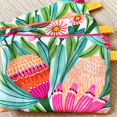 Cosmetic purse, makeup zip purse, large zip coin purse, zip bag, Kirsten Katz