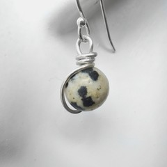 Dalmation Jasper earrings, Sterling silver wire wrapped