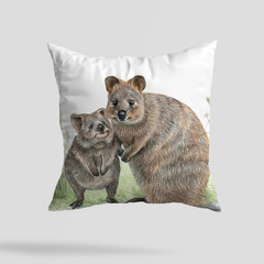 Cushion Cover with Quokkas Australian wildlife print  Linen 40cm