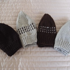 *Extra Special * 4 beanies: (1-3yrs): Washable, boy, winter, soft