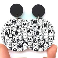 Big Dog Acrylic Earrings - Black & White Acrylic Earrings