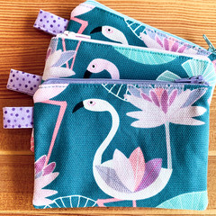 Small zipper pouch, zipper coin purse, pink flamingo zipper pouch