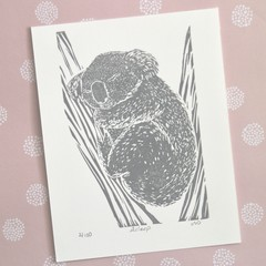 Koala OriginalLinocut Print / Australian Wildlife / Animal Art for kids