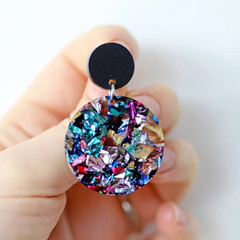 Kaleidoscope Medium Circle Earrings ✩ Rainbow Foil Acrylic Hoops