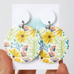 Big Flower Acrylic Earrings - Yellow Daisy Statement Earrings