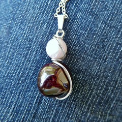 Garnet Pink Kunzite gemstone pendant, sterling silver wire wrapped