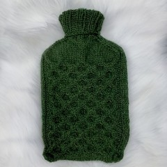 Cozy Hand Knitted Hot Water Bottle Cover in Forest Green colour