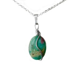 Ruby in Zoisite pendant, natural gemstone, Sterling silver wire wrapped