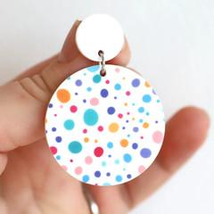 Confetti Polka Dot Acrylic Earrings - Big Statement Earrings
