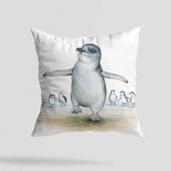 Cushion Cover with Penguin Australian wildlife print on Linen 40cm square