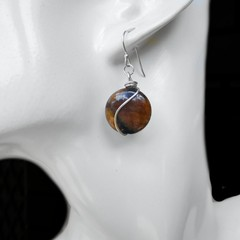 Andalusite Chiastolite earrings, Sterling silver wrapped