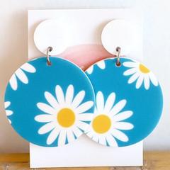 Blue Daisy Earrings - Blue Sky Earrings - Big Acrylic Earrings