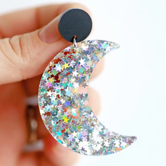 Iridescent Crescent Moon & Stars Earrings ✩ Crescent Moon Acrylic Earrings