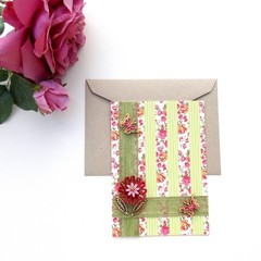 Bamboo Cotton Greeting Card Washi Paper Removable Floral Decoration Roses