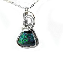 Opal pendant Andamooka Matrix sterling silver wire wrapped