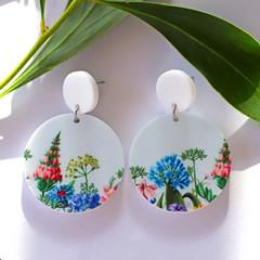 Asymmetrical Wildflower Earrings - Big Pastel Flower Statement Earrings