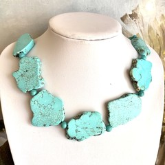 Genuine Blue TURQUOISE Slabs Chunky Necklace Jewellery.