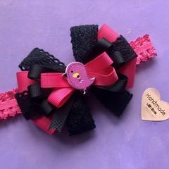 Stunning girls/baby  baby bird inspired elastic hair bow headband