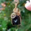 Raw Black Tourmaline pendant, small twin crystal, 14k gold filled wire wrapped