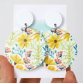 Big Flower Acrylic Earrings - Yellow Daisy Statement Earrings