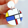 Big Bauhaus Earrings - Mondrian Art - Big Block Colour Statement Earrings