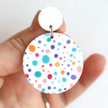 Confetti Polka Dot Acrylic Earrings - Big Statement Earrings