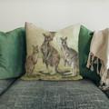 Cushion Cover with Eastern Grey Kangaroos Australian wildlife print  Linen 40cm