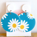 Blue Daisy Earrings - Blue Sky Earrings - Big Acrylic Earrings