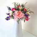 Pink & Lavender Flower Arrangement in White Jug - Artificial Flowers for Mothers