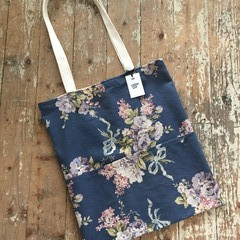 Vintage Rose Tote Bag - Pink Floral/Navy Blue