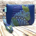 Blue feather abstract  Zip Pouch/Clutch