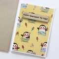 Handmade Penguin Birthday Card, Card For Her, Card For Him, Teen Card