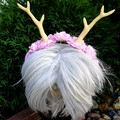 Dainty Woodland Headband - flowers with large antlers (multiple colour options)