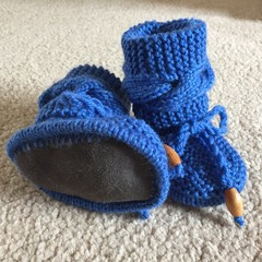 Knitted Booties with Sheepskin Sole