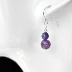 Lepidolite purple gemstone earrings, Sterling silver two bead