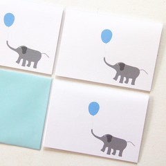 FREE POST   4 Blank Elephant Note Cards   Birthdays Thank You Thinking of You