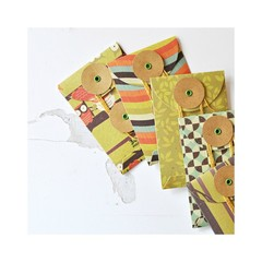 Button Envelopes {6} Autumn Orange Green Brown | Luxe Coin Money Envelopes | Tea