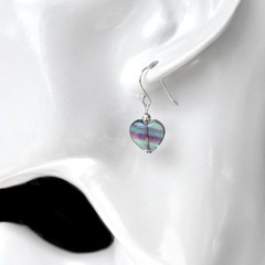 Rainbow Fluorite heart earrings, Sterling silver