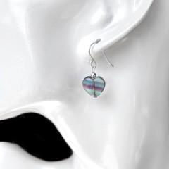 Rainbow Fluorite heart earrings, Sterling silver