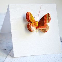 Orange Butterfly Card | 3D Butterfly Card | Calligraphy Butterfly | Butterfly Ca