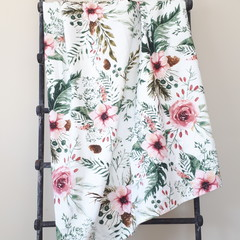 Baby Blanket - Pink Floral - Cotton and Flannel