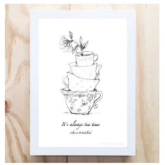 It's Always Teatime A4 Wall Art / Instant Digital Download Art Print Alice Quote