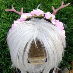 Dainty Woodland Headband - flowers with small antlers