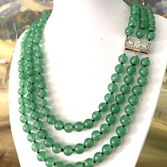 Genuine Light Green JADE (NEPHRITE) 8 mm bead Muli-Strands Classic Necklace