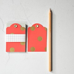 LAST Coral Orange {5} Gold Dot Tags 50x75mm | Retro Parcel Tags | Gold Dot Tags