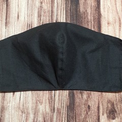 Face Mask Reusable, with filter pocket, Black Size Medium